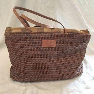 [MAURIZIOTAIUTI] Leather straw plaid tied bag